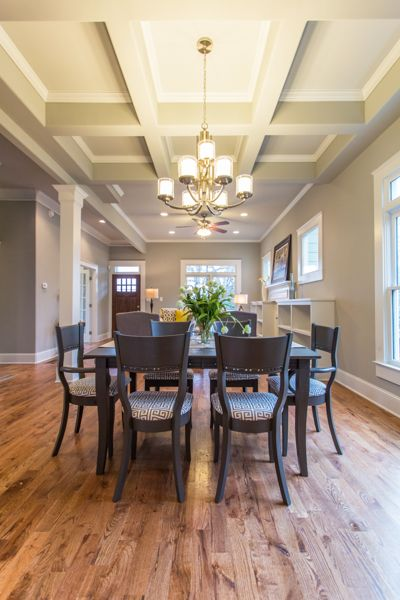 Gorgeous Coffered Ceilings And A Modern Chandelier Combine To Make This Atlanta Edgewood Craftsman Bungalow Warm Inviting Home