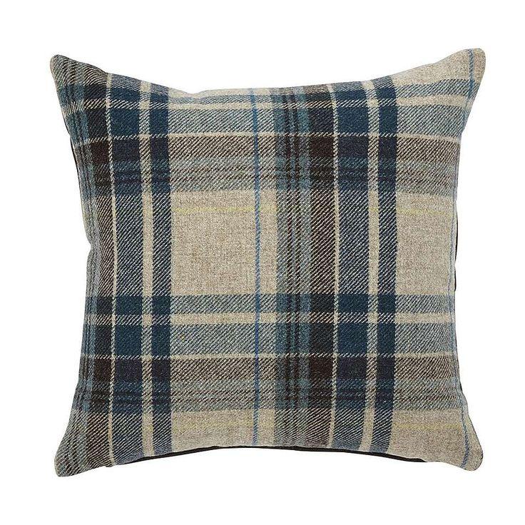 Alban Blue Check Cushion | Dunelm