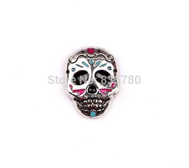 Free Shipping, 20pcs Mixed Color Zinc Alloy Skeleton Floating Charms Fit For Lockets, Gifts, Pet Collar