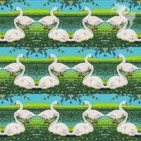 Summer swans jersey - Stoffen - Bambiblauw