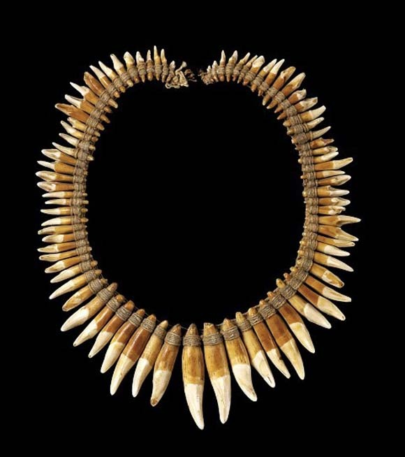 French Guiana | Necklace made from the teeth of primates and carnivores bound together on a cord of vegetable fiber | 18th century