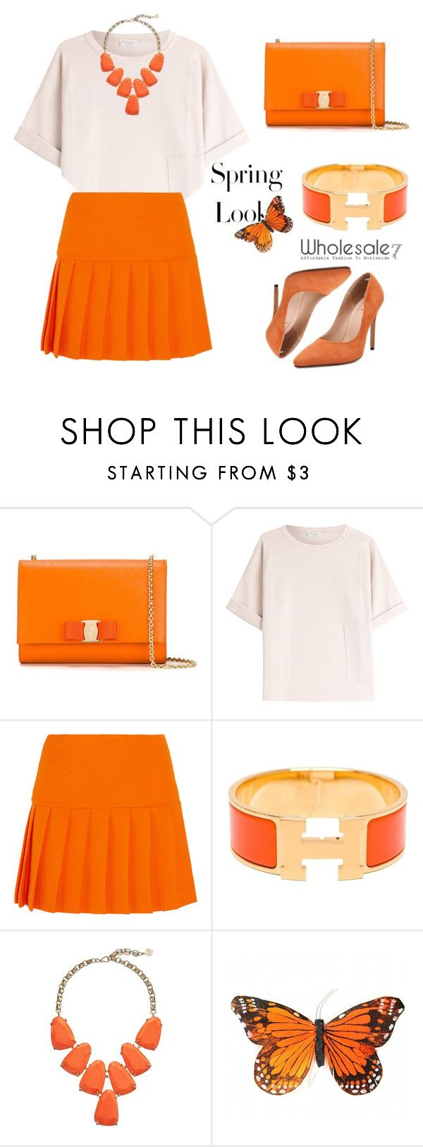 """Wholesale7/ Orange Pumps"" by lee77 ❤ liked on Polyvore featuring Salvatore Ferragamo, Brunello Cucinelli, Miu Miu, Hermès, Kendra Scott, H&M, women's clothing, women, female and woman"