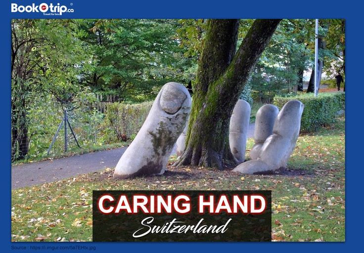 This amazing sculpture is called 'The Caring Hand' and is located in Glarus, #Switzerland. Call Us to book flight ticket : (888) 379 1003