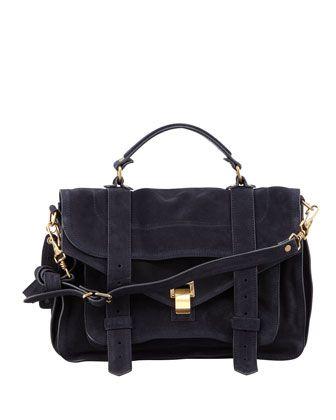 PS1 Medium Suede Satchel Bag, Navy by Proenza Schouler at Neiman Marcus.