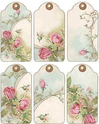 12 hang/gift Etiquetas Cottage Chic De Rosas de imágenes (844-a.)