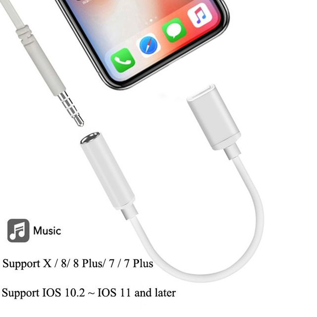 For Lightning To 3 5mm Headphone Jack Adapter Audio Converter For Lightning To 3 5mm Cable For Iphone Ios 12 1 Splitter Adapte Headphone Adapter Phone Adapters