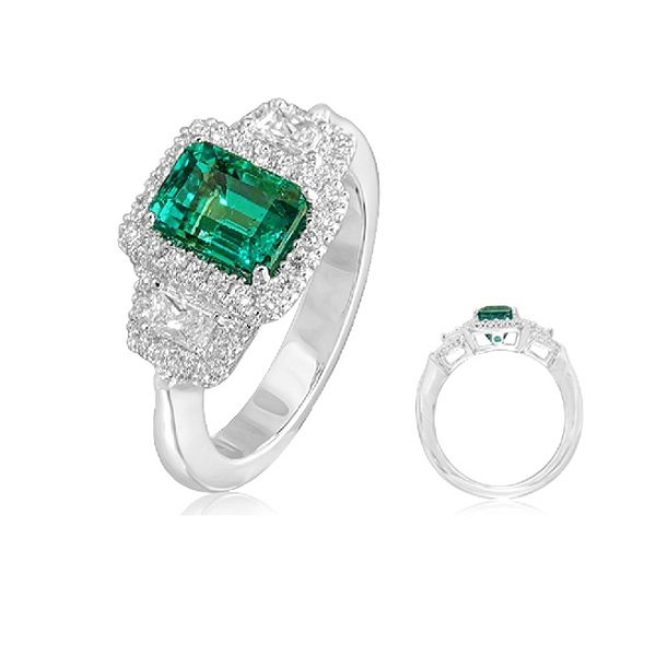 Emerald and Diamond Engagement Ring   BGRT2203_2028EJF