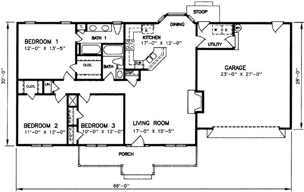 Ranch Style House Plans 1334 Square Foot Home 1 Story
