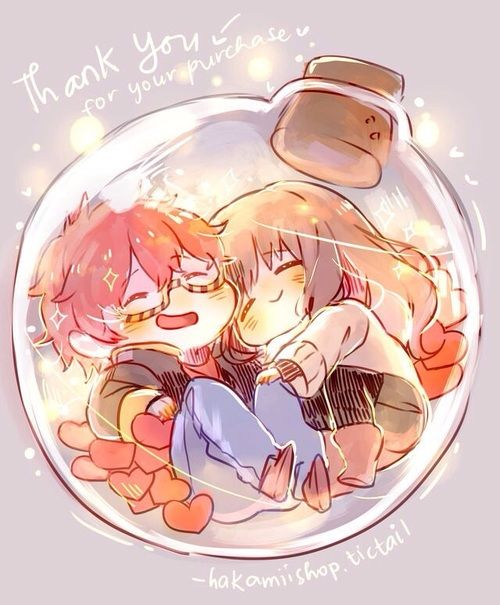 "Mystic Messenger: 707 / Luciel / Saeyoung x MC -- ""Thank you for your purchase"" Fan Art ○ Anime Girl and Boy ○ Manga ○ Christmas ○ Lights ○ Bulb ○ Bell ○ Cuddling ○ Cute ○ Sweet"