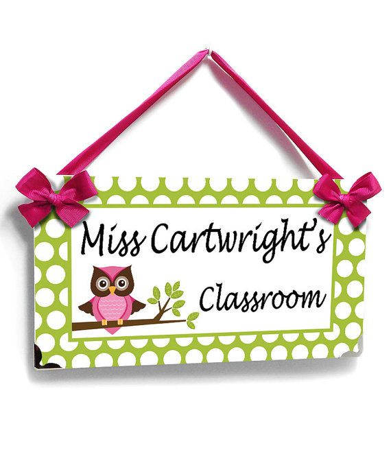 Teacher Name Sign owl themed teacher classroom door sign - white and lime green polka dots themed class wall plaque - P411