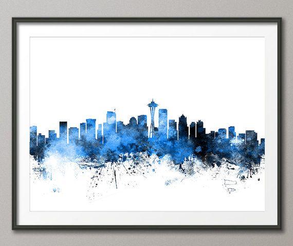 Seattle Skyline, Seattle Washington Cityscape Art Print (1110)