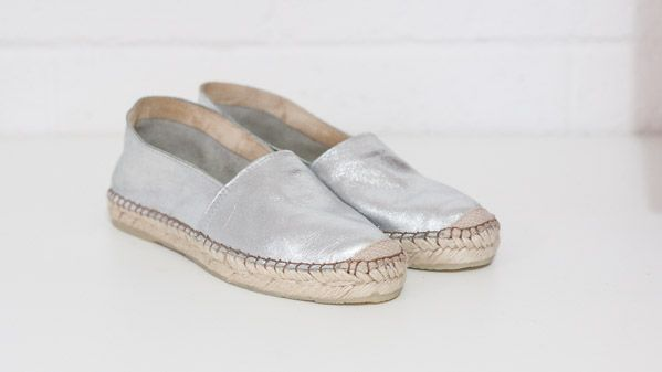 Our new silver espradilles by Maya McQueen. Pre - order now! In store soon $129. metallic loafers - made in Brazil - EB x