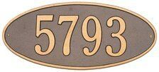 """Whitehall Madison Oval Standard Lawn Address Plaque One Line Version by Whitehall. $103.99. One Line Version: Line 1 holds up to five 4.5"""" numbers or seventeen 1.25"""" characters"""