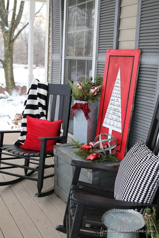 Red Black White Outdoor Christmas Sign Outdoor Porch Christmas Decorating: Sharpie Art Tree Sign