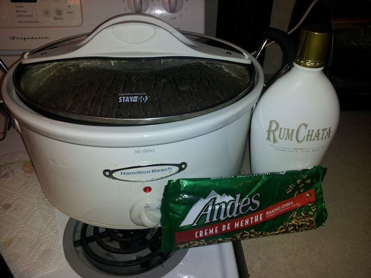 Whoa! Yumz. Crock pot hot chocolate! Use two bags of chopped up Ande's mints, one bottle of rum chata, two small cans of sweetened condensed milk, one small carton of heavy whipping cream, and 4 cups of milk! Double to make a large pot. Just mix everything together, set on high for 2 hours stirring occasionally and then enjoy :)