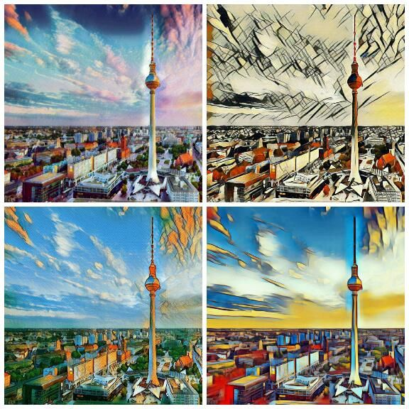 """Watercolor"", ""Abstract"", ""Surrealism"", ""Forward"" - four of many amazing #deeparteffects photofilters!  #fotofilter #fotoeffekt #photofilter #photoeffect #berlin #germancapital #hauptstadt #fernsehturm #tvtower #sightseeing #trip #beautiful #followme #dae #artificialintelligence #ai #künstlicheintelligenz #ki #lifestyle #artwork #kunstwerk #prisma #prismacolor #deeplearning"