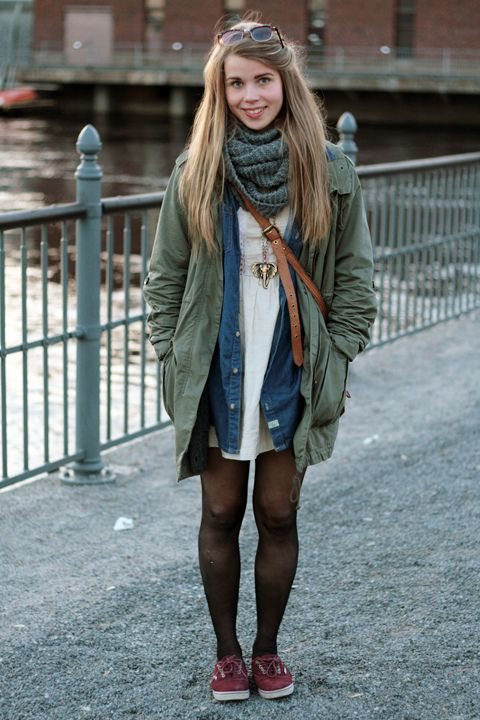 love this outfit.: Outfits, Park, Vans Street, Style God, Infinity Scarfs, Denim Shirts, Style Clothessss, Street Styles, White Dresses