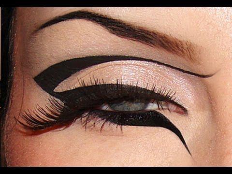 Creative black eyeliner tutorial Dramatic bold eyeliner Make-up look Graphic liner