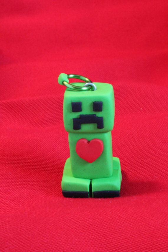 Handcrafted polymer clay Minecraft like Creeper by ArtsyVartsy, $10.00