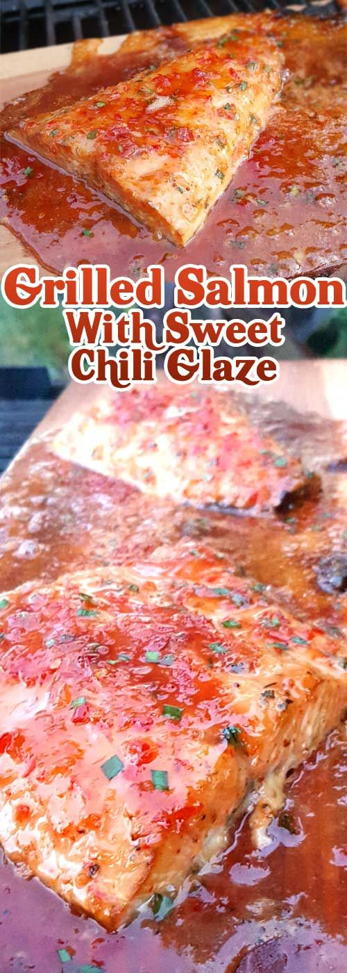 Sweet and spicy. Light and savory. This Grilled Salmon with Sweet Chili Glaze is… #healthy_recipe #salmon
