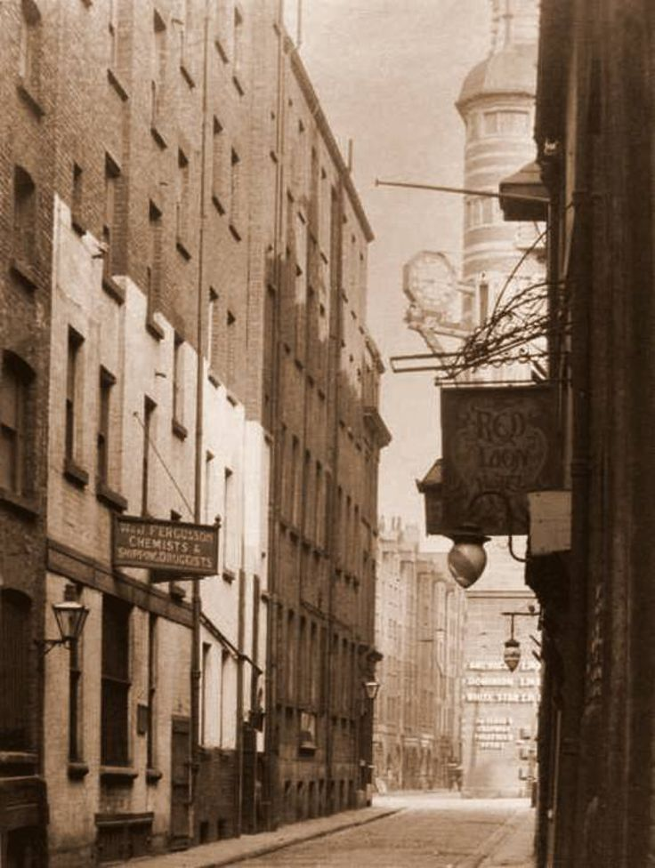Sea Brow, a very old street with a glimpse of the White Star Offices, Liverpool c1900