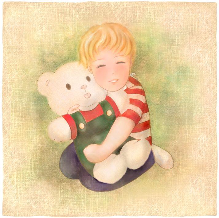 """""""Ricky e il suo orsetto"""". Illustrazione per il romanzo per ragazzi """"Vivere a Venezia"""", di Laura M. Cecilia Ferro."""
