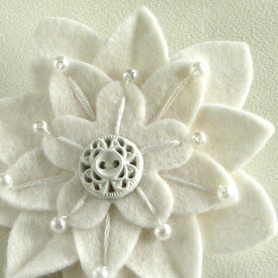 White on White Felt Flower Pin with Vintage White Button, Pearls & Hand Embroidery by Dorothy Designs
