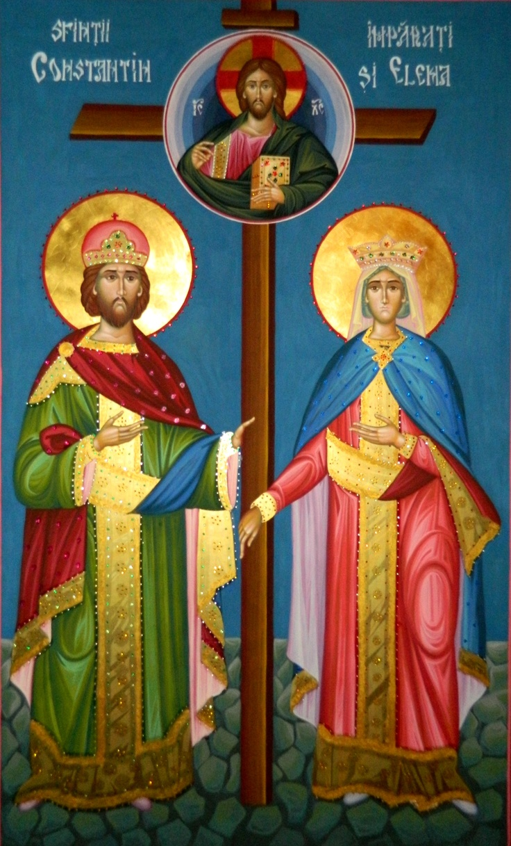 St.s Constantine and Helen; Christ is in the center of the Cross