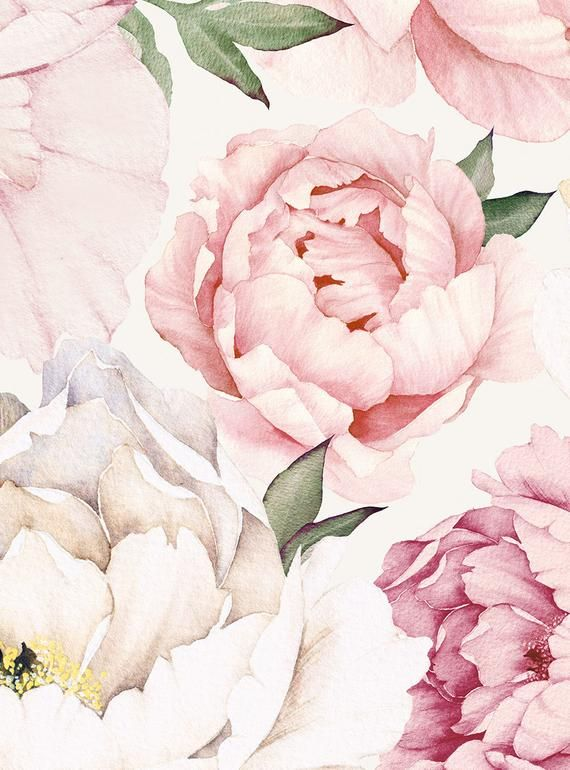 Peony Flower Mural Wallpaper Mixed Pink Watercolor Peony Extra Large Wall Art Peel And Stick Wall Mural Flower Mural Peony Wallpaper Wall Art Wallpaper