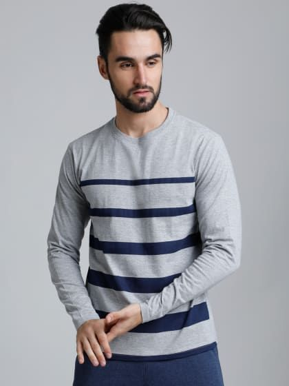 baa71e72 Grey Full Sleeve T-Shirt in 2019 | Mens Fashion | T shirt, Shirts, Cool t  shirts