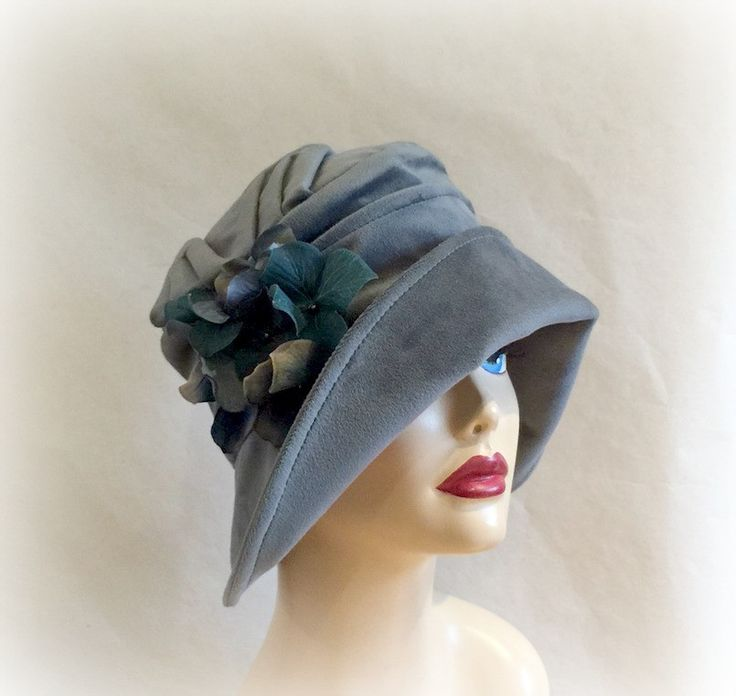 Blue Cloche Hat, Vintage Inspired, Downton Abbey Hat, Wide Brim Hat, Flower Accessory, The Alice, Fall Winter Spring Seasons, Flapper Hat, Handmade USA