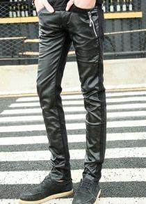 #Gearbest Узкие Ноги молнии украшен ПУ кожа Сращивание Молния Fly Мужские брюки (307098) #SuperDeals