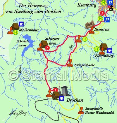 Heinrich Heine Wanderweg zum Brocken von Ilsenburg - gezeichnet von Lisa Berg