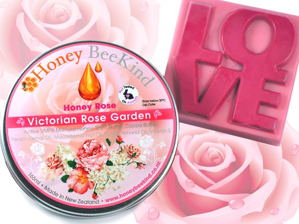 Honey Rose - Luxury Body Cream With Victorian Rose &  LOVE Soap Bar with Rose  A velvety and creamy body butter with the enticing aroma of freshly cut Victorian roses from the garden, with creamy base notes of white musk and amber. Comes with a Free Victorian Rose scented LOVE soap bar