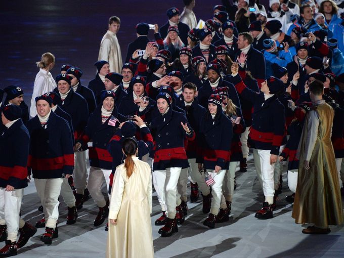 Athletes from the USA participate in the athlete march during the closing ceremony.