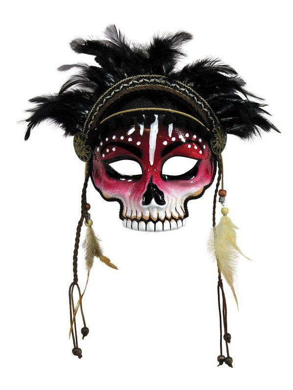 Witch Doctor Feather Mask Voodoo Halloween Costume Accessories