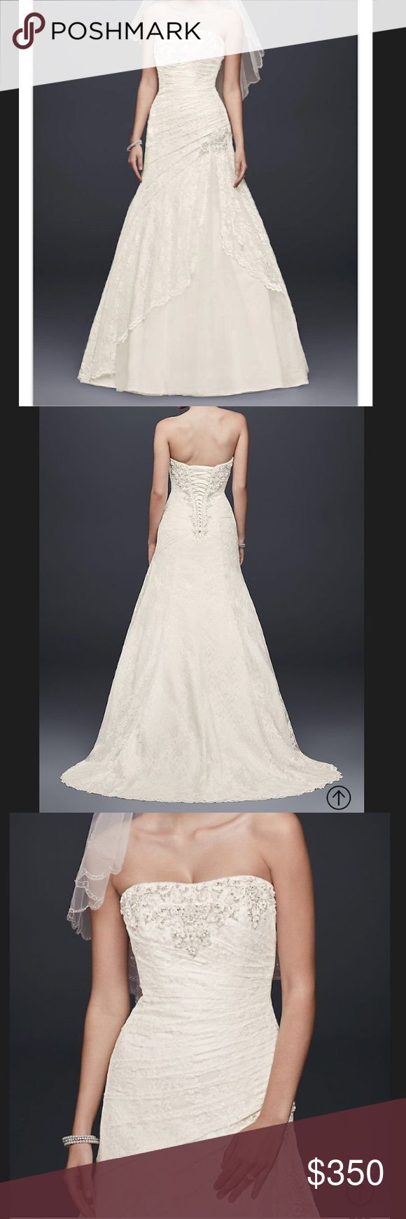 David's Bridal A-line Lace Wedding Dress Sz 12 ⭐️ This dress has a lace side split detail. Style number YP3344 in Ivory. This is my wedding dress worn for my wedding day. It's still in great condition however has not been dry cleaned. I'm posting to see if there is interest before donating and did not want a large dry cleaning bill if it goes unsold. David's Bridal Dresses Wedding