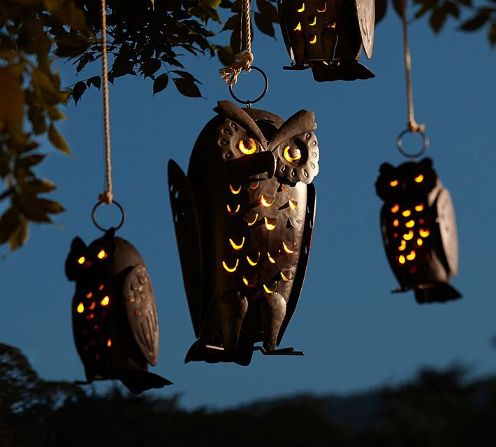 punched metal owls candle holders - Metal Halloween Decorations