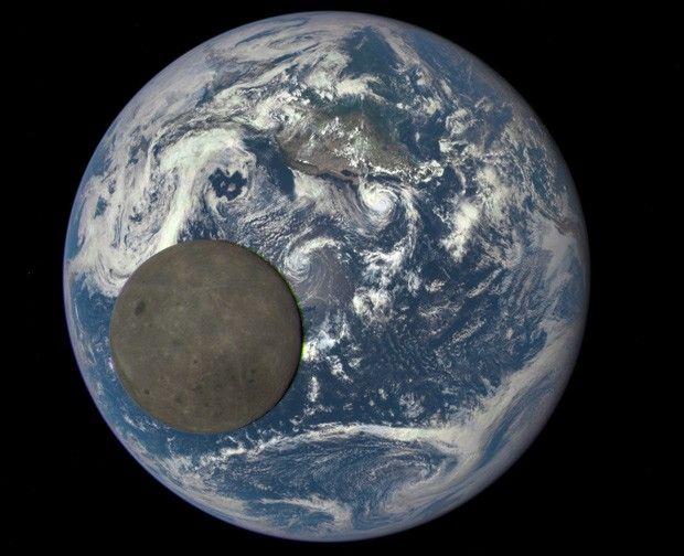 Imagem mostra o lado oculto da Lua iluminado pelo Sol, enquanto ela passa entre o satélite DSCOVR e a Terra  (Foto: NASA/NOAA)