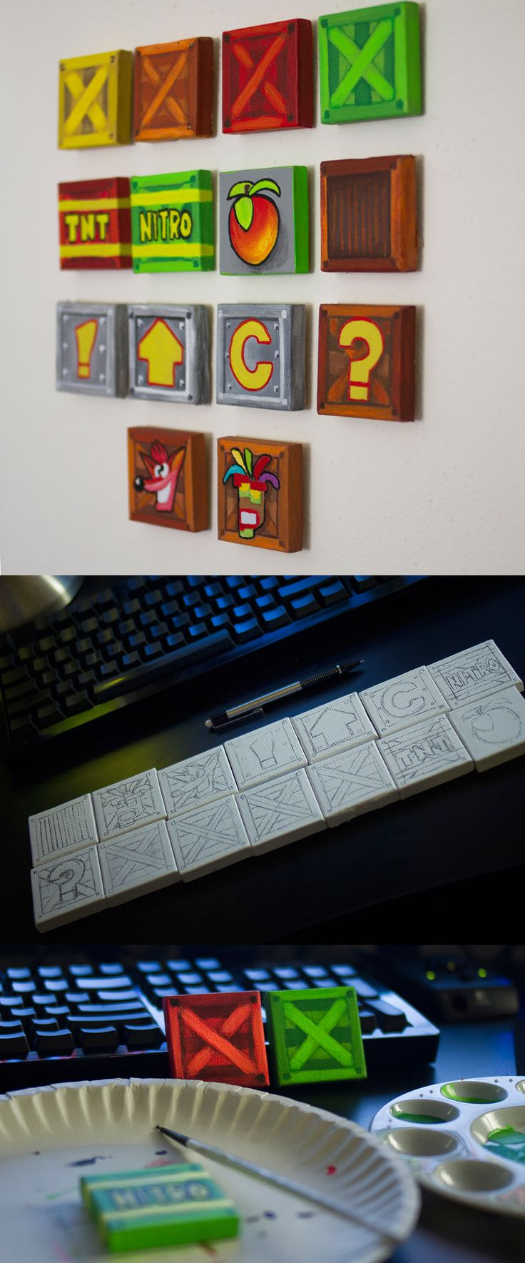 "Crash Bandicoot (1996, Playstation) A magnet set featuring the crates, apples, and power-ups from the game every playstation owner owns! these magnets are 1"" by 1"" acrylic on canvas."