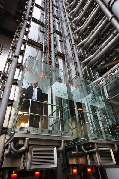 Richard Rodgers in one of the glass lifts at The Lloyds Building