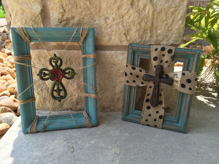 Picture frame crosses...only $15-$18! #speckledpinkboutique #cross #repurpose #burlap #handmade #daretobedifferent #daretobeyou #liveyourdream #wood