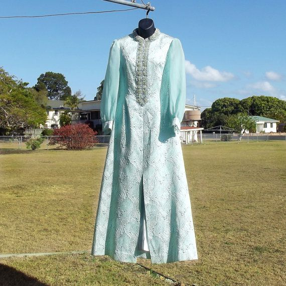 Incredible 1960s Evening Gown/Wedding Dress by VintageSquirrels, $169.95  Incredible 1960s Evening Gown/Wedding Dress, Full Length high beaded collar and front, sheer full sleeves gathered button cuffs Luxury