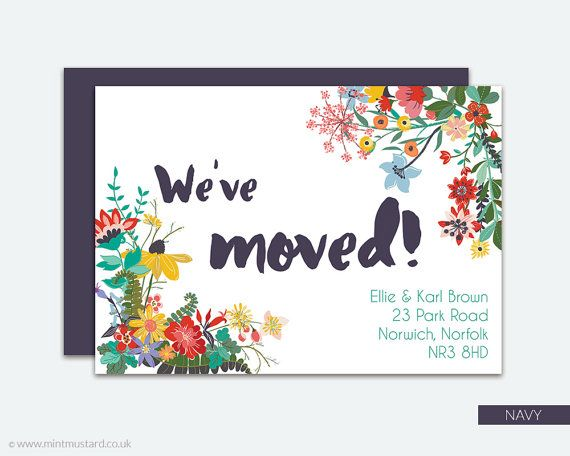 Change of Address Printable Card | Wild Flowers | Moving Announcement | New…