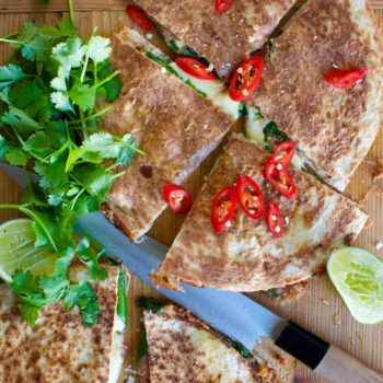 Refried Bean and Corn Quesadillas with Salsa