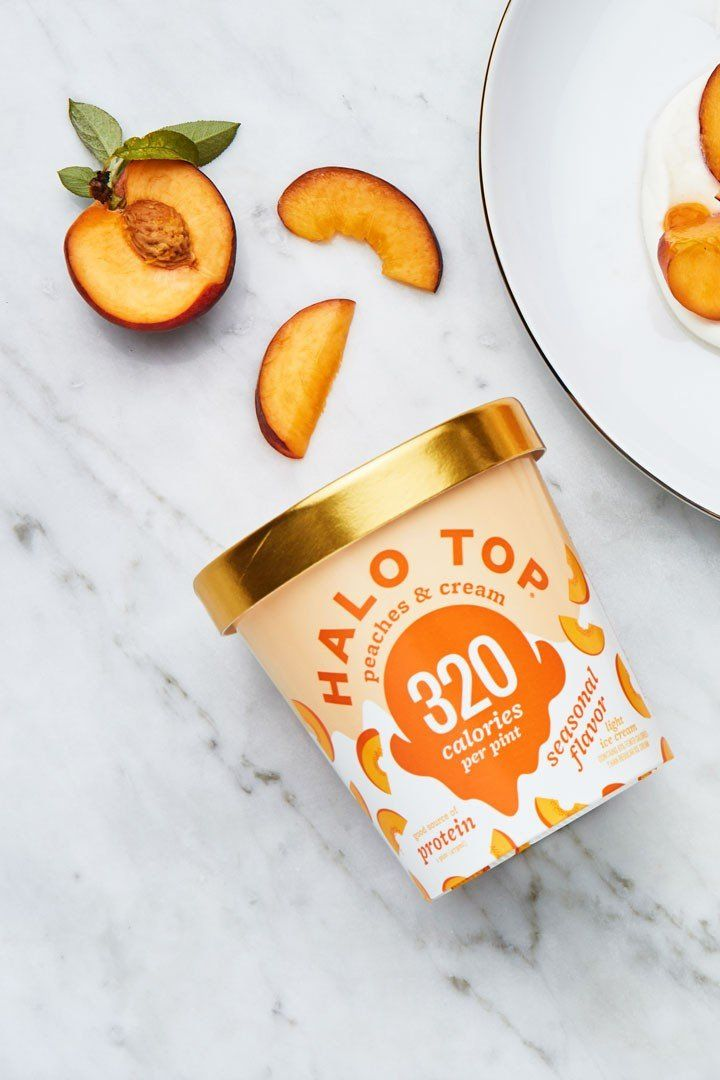 We Tried The New Halo Top Peaches And Cream And Omg It Tastes Just Like Summer Ice Cream Packaging Ice Cream Photography Halo Top Flavors