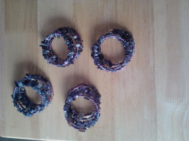 Amethyst chip bracelets with beads
