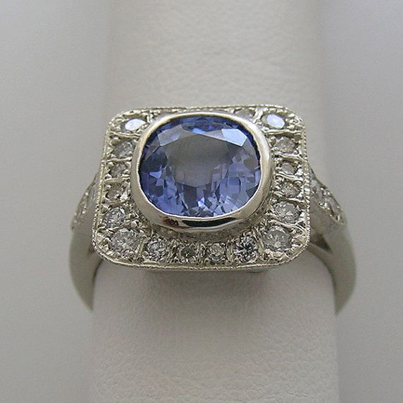 Vintage 14K Engagement Ring Art Deco Style GIA Certified Cushion Cut Natural Sapphire and Diamonds