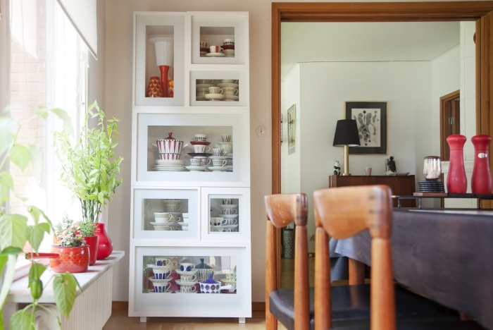 IKEA PS 2012 glass-door cabinet. Built-in cable management and the shelves come in different depths and widths. Designers: Lisa Widén and Anna Wallin Irinarchos (WIS Design)