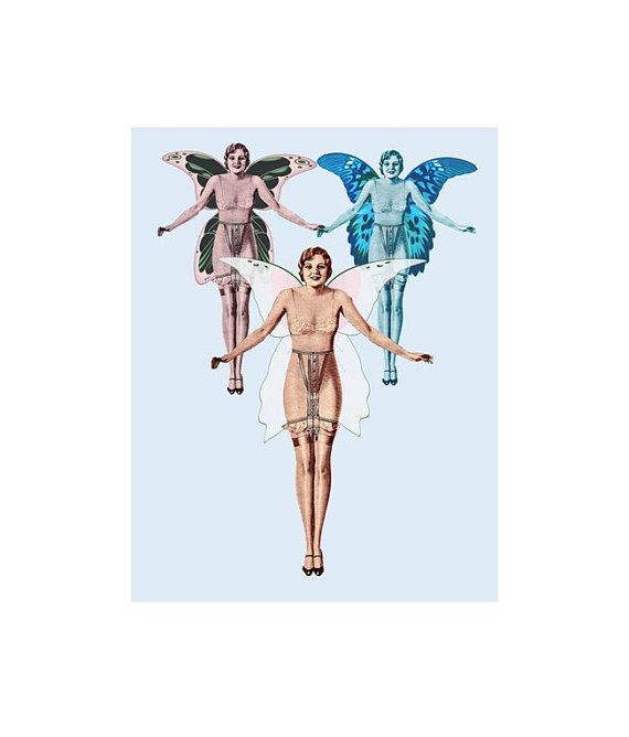 VINTAGE GIRDLE FAIRY Image, Girdle Fairy, Girdle Fairy Cutout, Large Clipart, Transparent Background, Transfer Template, Transfer To Totes by ICreateAndCollect on Etsy